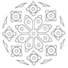 Dibujo para colorear : Mandala Rosas y margaritas