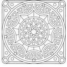 Mandala Estrellas, arcos y círculos - Dibujos para Colorear y Pintar - Dibujos para colorear MANDALAS - Dibujos de MANDALA ESTRELLA para colorear