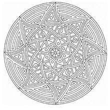 Dibujo para colorear : Mandala estrellas, Sol y fuego