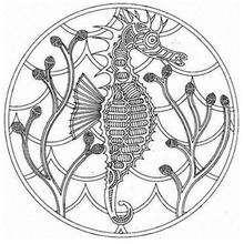 Mandala Hipocampo - Dibujos para Colorear y Pintar - Dibujos para colorear MANDALAS - Dibujos de MANDALAS DE ANIMALES para colorear