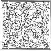 Mandala Azulejo y lazos - Dibujos para Colorear y Pintar - Dibujos para colorear MANDALAS - Dibujos de MANDALAS INFANTILES para colorear