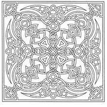 Dibujo para colorear : Mandala Azulejo y lazos