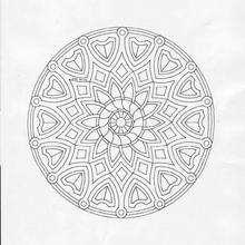 Dibujo para colorear : Mandala Flores y escudos