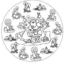 Mandala renos de Navidad - Dibujos para Colorear y Pintar - Dibujos para colorear MANDALAS - Dibujos de MANDALAS NAVIDEÑOS para colorear
