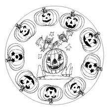 Mandala Calabazas de Halloween - Dibujos para Colorear y Pintar - Dibujos para colorear MANDALAS - Dibujos de MANDALAS DE HALLOWEEN para colorear
