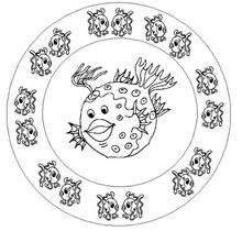 Dibujo para colorear : Mandala con peces
