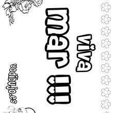 MAR colorear nombres niñas - Dibujos para Colorear y Pintar - Dibujos para colorear NOMBRES - Dibujos para colorear NOMBRES NIÑAS