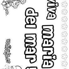 MARIA DEL MAR colorear nombres niñas - Dibujos para Colorear y Pintar - Dibujos para colorear NOMBRES - Dibujos para colorear NOMBRES NIÑAS