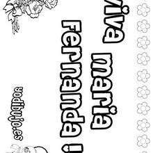 MARIA FERNANDA colorear nombres niñas - Dibujos para Colorear y Pintar - Dibujos para colorear NOMBRES - Dibujos para colorear NOMBRES NIÑAS