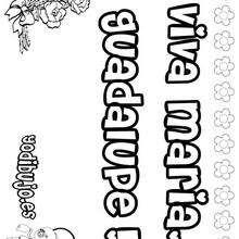 MARIA GUADALUPE colorear nombres niñas - Dibujos para Colorear y Pintar - Dibujos para colorear NOMBRES - Dibujos para colorear NOMBRES NIÑAS