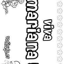 MARIANA colorear nombres niñas - Dibujos para Colorear y Pintar - Dibujos para colorear NOMBRES - Dibujos para colorear NOMBRES NIÑAS