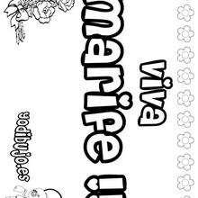 MARIFE colorear nombres niñas - Dibujos para Colorear y Pintar - Dibujos para colorear NOMBRES - Dibujos para colorear NOMBRES NIÑAS