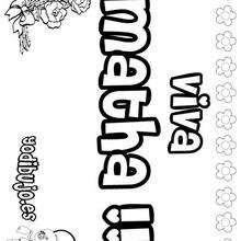 MATHA colorear nombres niñas - Dibujos para Colorear y Pintar - Dibujos para colorear NOMBRES - Dibujos para colorear NOMBRES NIÑAS