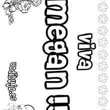 MEGAN colorear nombres niñas - Dibujos para Colorear y Pintar - Dibujos para colorear NOMBRES - Dibujos para colorear NOMBRES NIÑAS