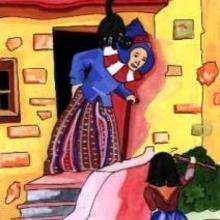 Ilustración : Mujer con su gato