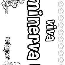 MINERVA colorear nombres niñas - Dibujos para Colorear y Pintar - Dibujos para colorear NOMBRES - Dibujos para colorear NOMBRES NIÑAS