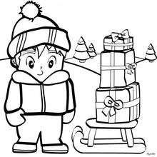 Niño con sus regalos de Navidad - Dibujos para Colorear y Pintar - Dibujos para colorear FIESTAS - Dibujos para colorear de NAVIDAD - Colorear dibujos REGALOS DE NAVIDAD