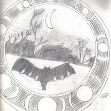 Ilustración : Murcielagos y luna