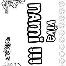NAMI colorear nombres niñas - Dibujos para Colorear y Pintar - Dibujos para colorear NOMBRES - Dibujos para colorear NOMBRES NIÑAS