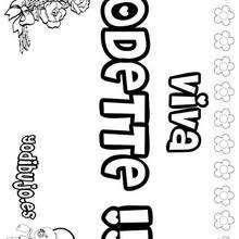 ODETTE colorear nombres niñas - Dibujos para Colorear y Pintar - Dibujos para colorear NOMBRES - Dibujos para colorear NOMBRES NIÑAS