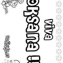 OKSANA colorear nombres niñas - Dibujos para Colorear y Pintar - Dibujos para colorear NOMBRES - Dibujos para colorear NOMBRES NIÑAS