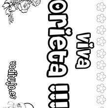 ORIETA colorear nombres niñas - Dibujos para Colorear y Pintar - Dibujos para colorear NOMBRES - Dibujos para colorear NOMBRES NIÑAS