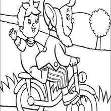 Dibujo para colorear : Rita y Jumbo en bicicleta