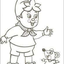 Dibujo para colorear : Noddy saludando a Ratón