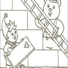 Osito y Noddy trabajando - Dibujos para Colorear y Pintar - Dibujos para colorear PERSONAJES - PERSONAJES ANIME para colorear - Noddy para pintar