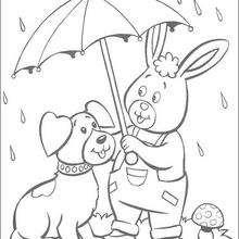 Orejas con su paraguas - Dibujos para Colorear y Pintar - Dibujos para colorear PERSONAJES - PERSONAJES ANIME para colorear - Noddy para pintar