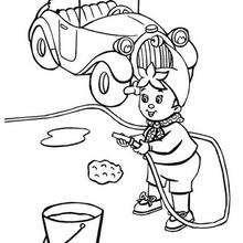 Noddy limpiando su coche - Dibujos para Colorear y Pintar - Dibujos para colorear PERSONAJES - PERSONAJES ANIME para colorear - Noddy para pintar