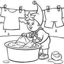Noddy limpia la ropa - Dibujos para Colorear y Pintar - Dibujos para colorear PERSONAJES - PERSONAJES ANIME para colorear - Noddy para pintar