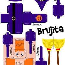 Papertoy Brujita de Halloween - Manualidades para niños - Papiroflexia facil - Personajes de papel para HALLOWEEN