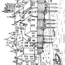 París durante la Edad Media - Dibujos para Colorear y Pintar - Dibujos para colorear de FANTASIA - Dibujos para colorear CASTILLOS