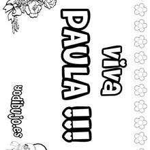 Nombre de niña para pintar : PAULA