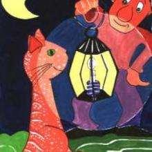 Ilustración : Un campesino con su gato