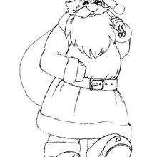 Dibujo Santa Claus con su cesta para pintar - Dibujos para Colorear y Pintar - Dibujos para colorear FIESTAS - Dibujos para colorear de NAVIDAD - Dibujos para colorear SANTA CLAUS - SANTA CLAUS pintar