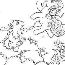 Dibujo para colorear : Pony y dragoncito