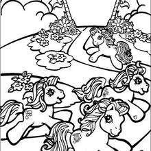 Dibujo para colorear : RAINBOW DASH, PINKIE PIE y otros ponies