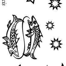 Piscis - Dibujos para Colorear y Pintar - Dibujos infantiles para colorear - Signos del Zodiaco para colorear