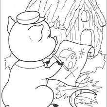 Dibujo de la casita de paja - Dibujos para Colorear y Pintar - Dibujos de CUENTOS para colorear - Dibujos de los 3 CERDITOS para colorear