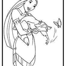 Dibujo para colorear : El Mapache y la Mariposa