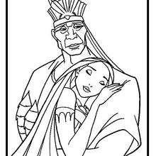 Dibujo para colorear : Pocahontas con su Papá