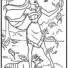 Dibujo para colorear : Pocahontas, Flit y Miko