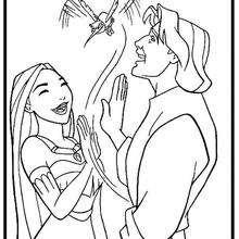 Dibujo para colorear : Flit, John Smith y Pocahontas