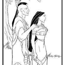 Dibujo para colorear : Powhatán y su hija Pocahontas