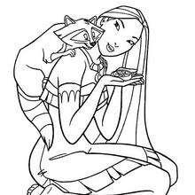 Dibujo para colorear : Miko y Pocahontas