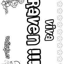 RAVEN pintar nombre niño - Dibujos para Colorear y Pintar - Dibujos para colorear NOMBRES - Dibujos para pintar NOMBRES NIÑOS