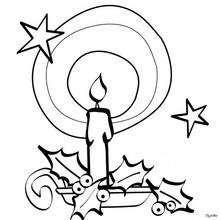 Vela de Navidad con estrella y acebo para colorear - Dibujos para Colorear y Pintar - Dibujos para colorear FIESTAS - Dibujos para colorear de NAVIDAD - VELAS DE NAVIDAD para colorear