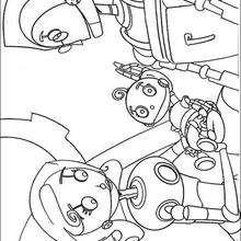 Dibujo para colorear : el robot Rodney con sus padres